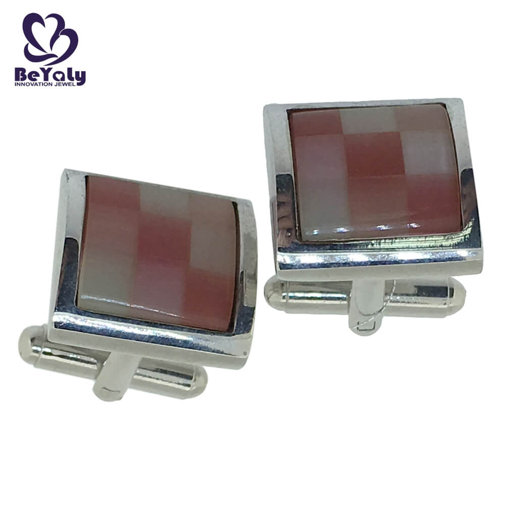 popular real silver cufflinks blue for business for party-3