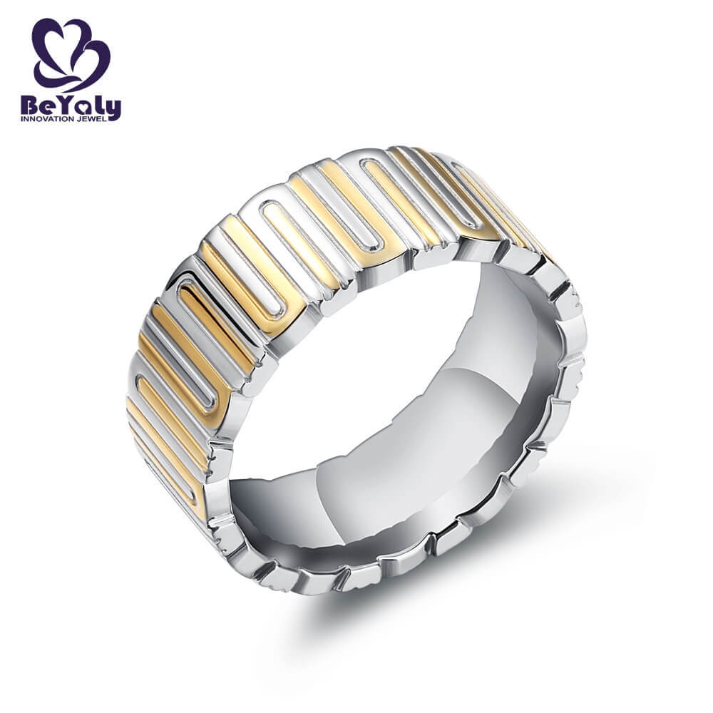 BEYALY diamond gold inital ring factory for wedding-3