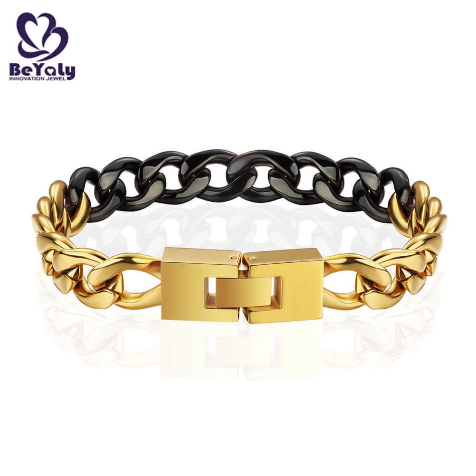 Stainless Steel Gold And Black Plated Chain Bracelet