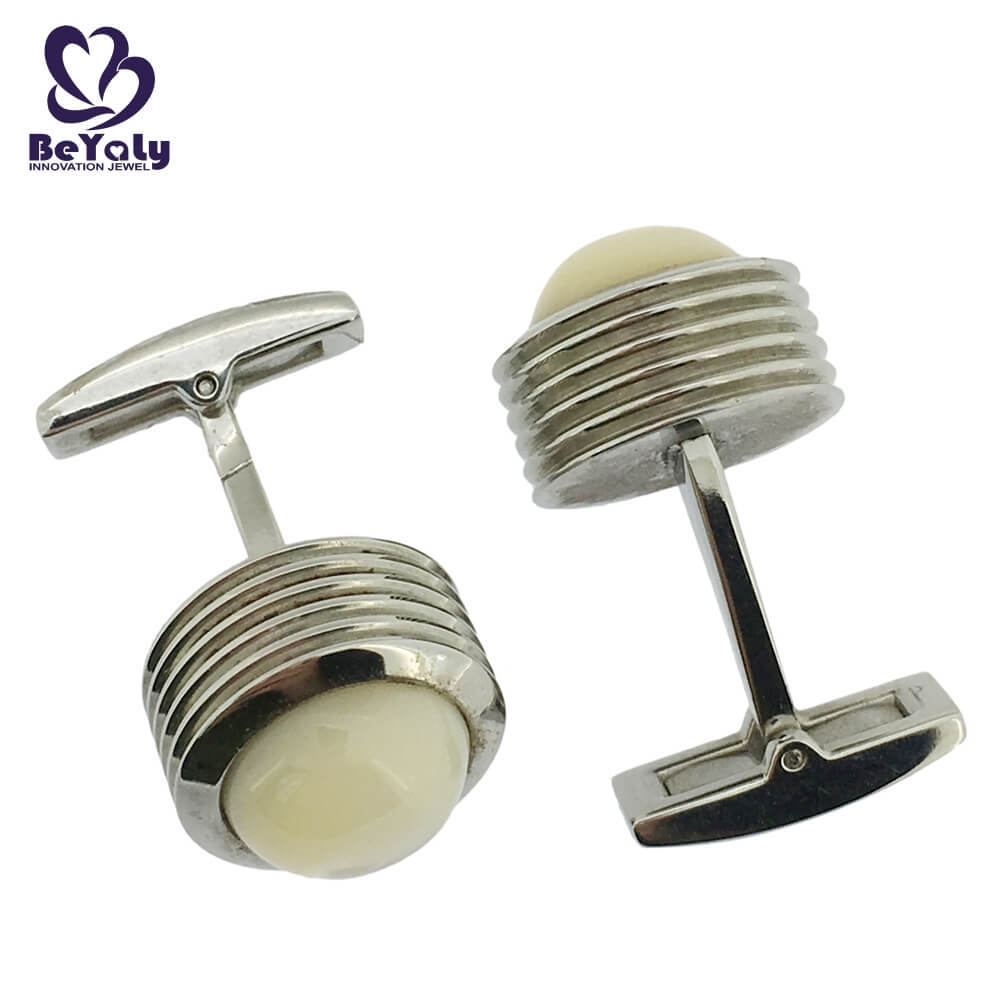 Thick style men's white stone multistory design cufflinks