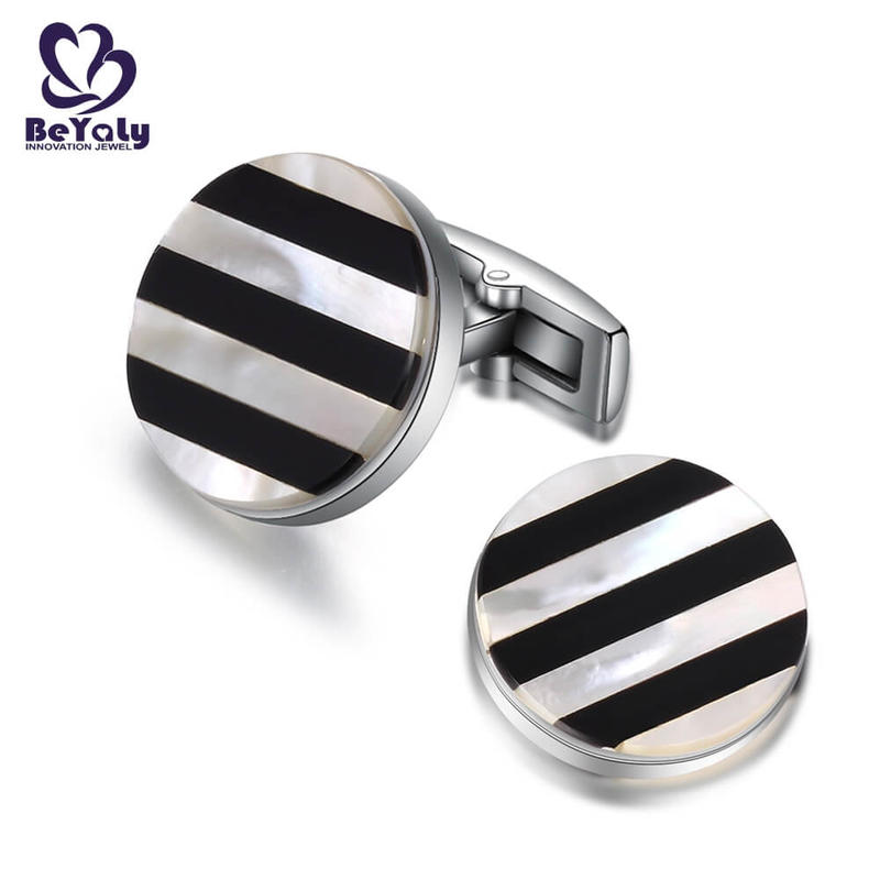 Round black and white stripe design cufflinks for men