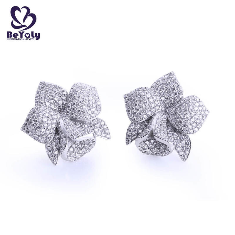 Full pave setting aaa cz blooming flower stud earrings