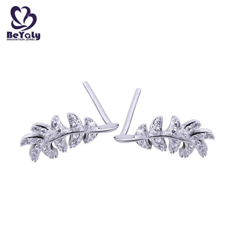 925 sterling silver feather shape with zircon earrings