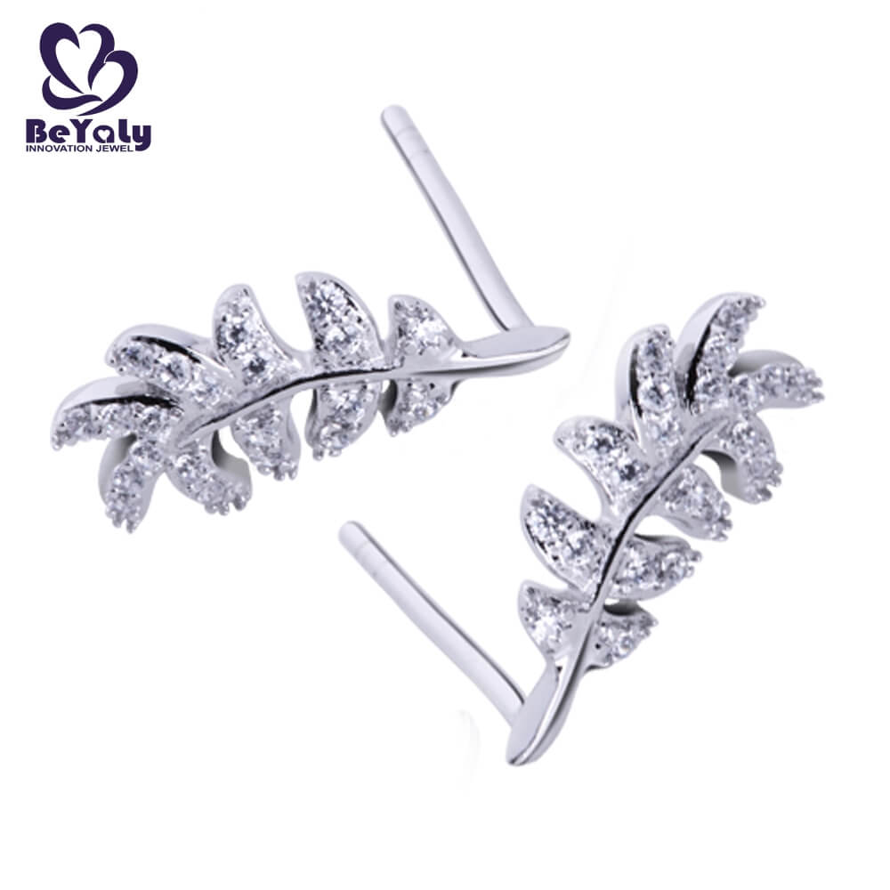 BEYALY steel pearl stud earrings with small diamond factory for advertising promotion-2