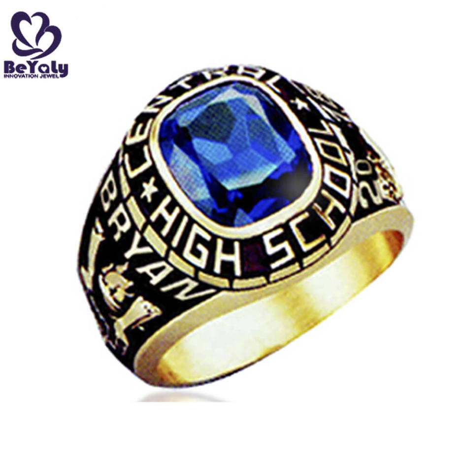 High school wholesale blue stone ring with black painting