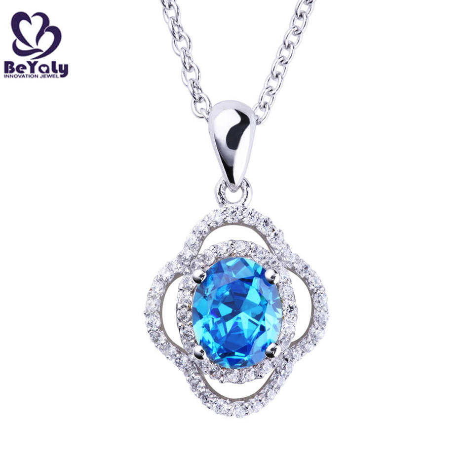 Brilliant natural stone silver beauty life flower pendant necklace
