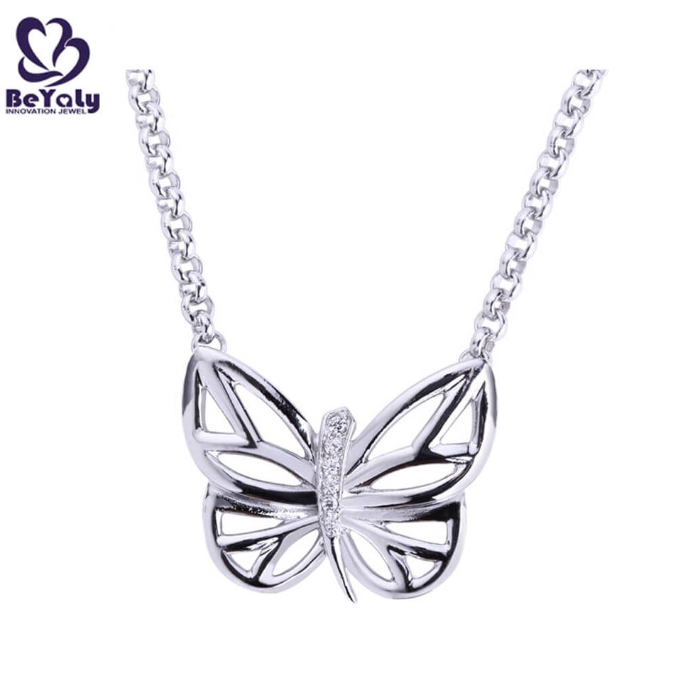 Stock silver chains butterfly delicate carved pendants necklace