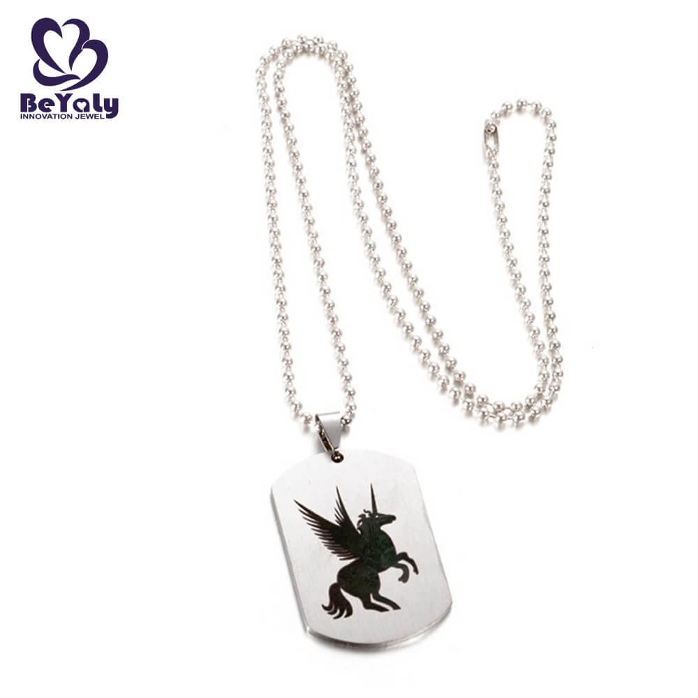 Wholesale stainless steel jewelry unicorn Pegasus dog tag necklace