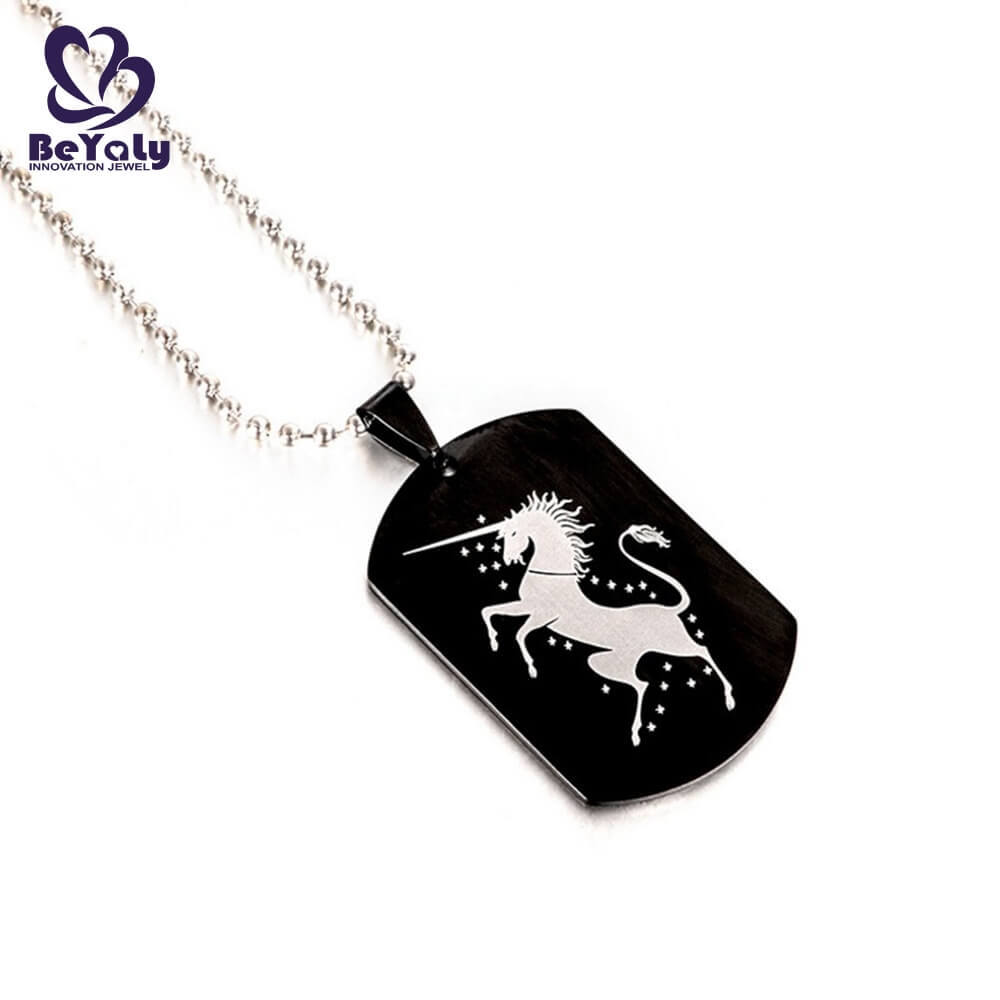 product-BEYALY-Wholesale stainless steel jewelry unicorn Pegasus dog tag necklace-img