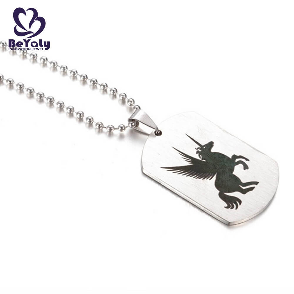 product-Wholesale stainless steel jewelry unicorn Pegasus dog tag necklace-BEYALY-img-1