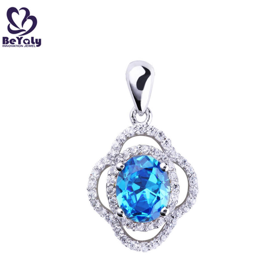 Wholesale Jewelry 925 Sterling Silver Clover Pendant with CZ diamond for Ladies
