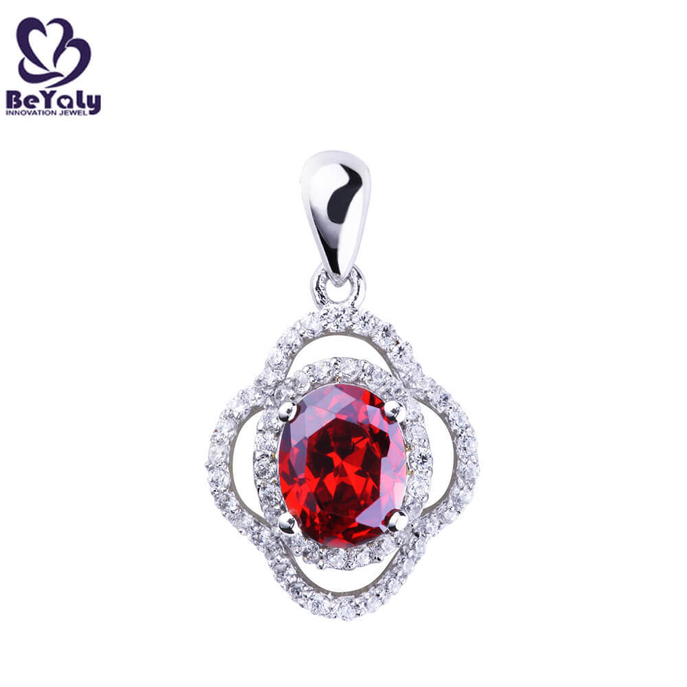 product-BEYALY-Wholesale Jewelry 925 Sterling Silver Clover Pendant with CZ diamond for Ladies-img