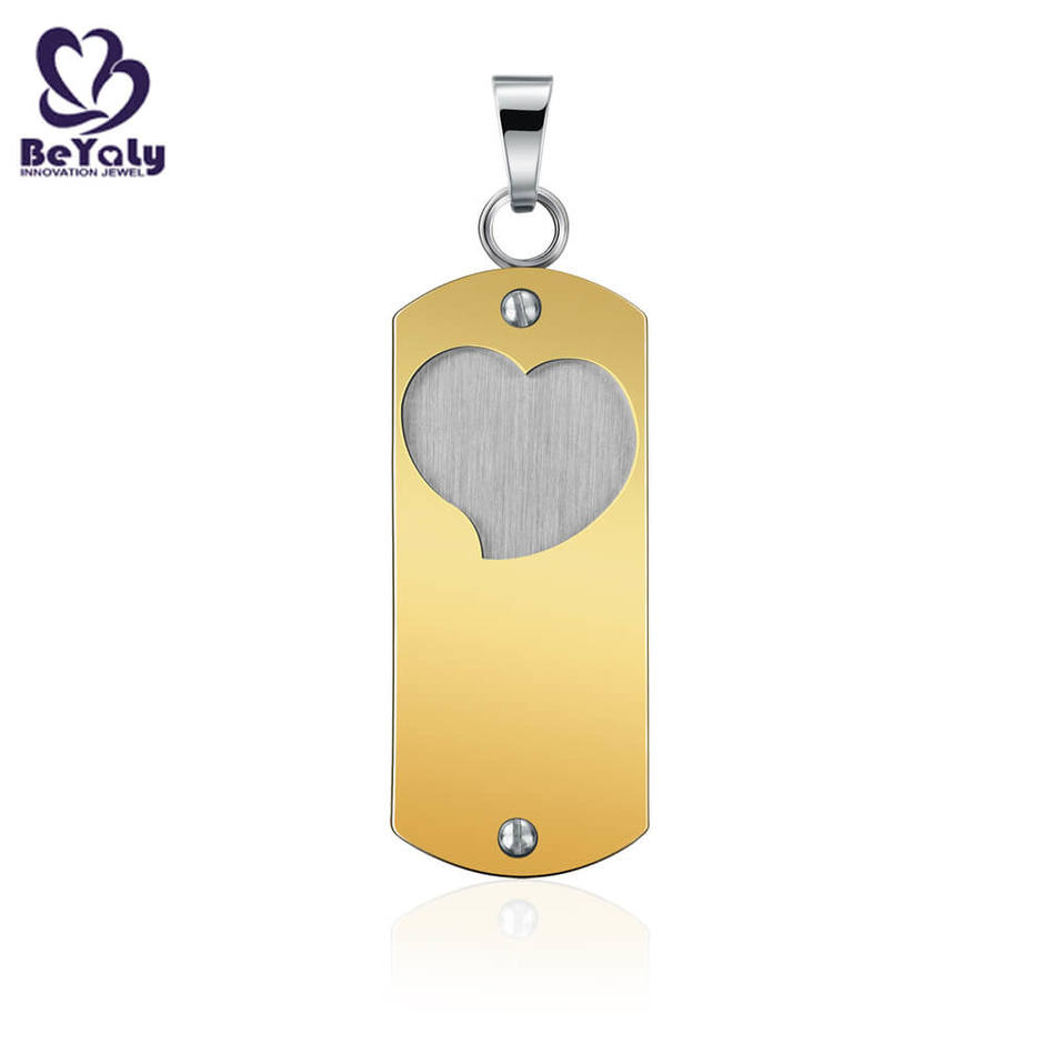 Personalized steel cut out jewelry pendant heart shaped metal pendants blank tag