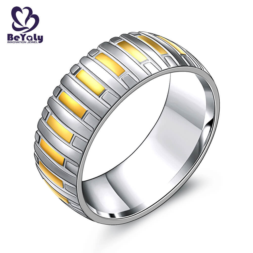 design stone plated platinum band ring BEYALY