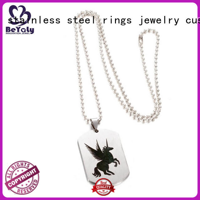 BEYALY steel sterling silver circle pendant necklace Supply for women