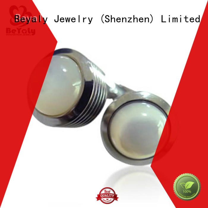 BEYALY stone engraved cufflinks for men silver Suppliers for ceremony for advertising promotion