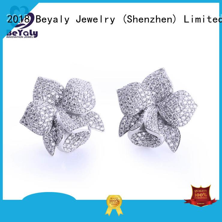 stud pave steel BEYALY Brand mini diamond hoop earrings manufacture