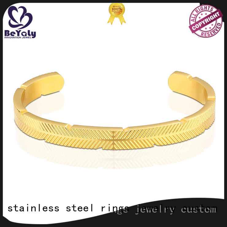 silver simple BEYALY Brand initial cuff bracelet factory