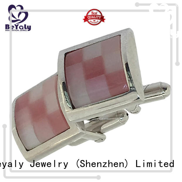 High-quality silver square cufflinks blue for business for engagement