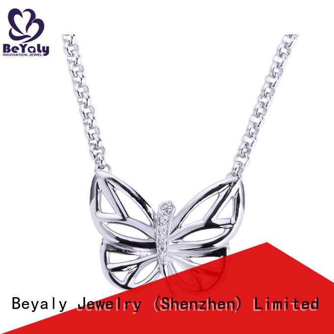 BEYALY stock sterling silver circle pendant necklace manufacturers for ladies