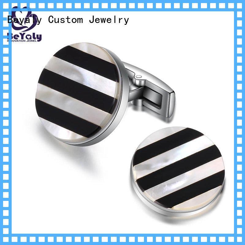 Custom cufflink set stripe company for engagement