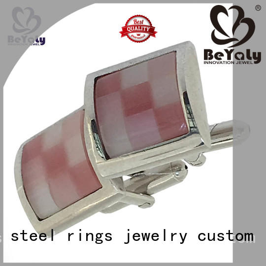 gold wedding cufflinks black square mens BEYALY Brand company