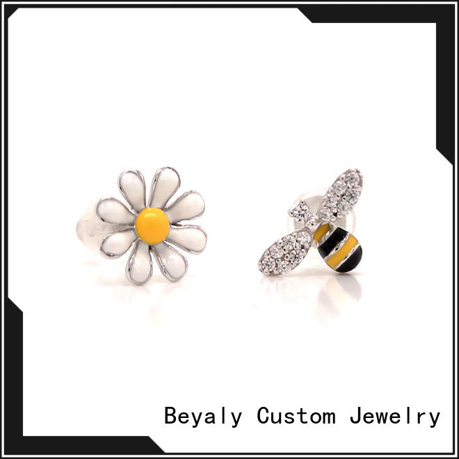 BEYALY rhodium circle stud earrings company for advertising promotion