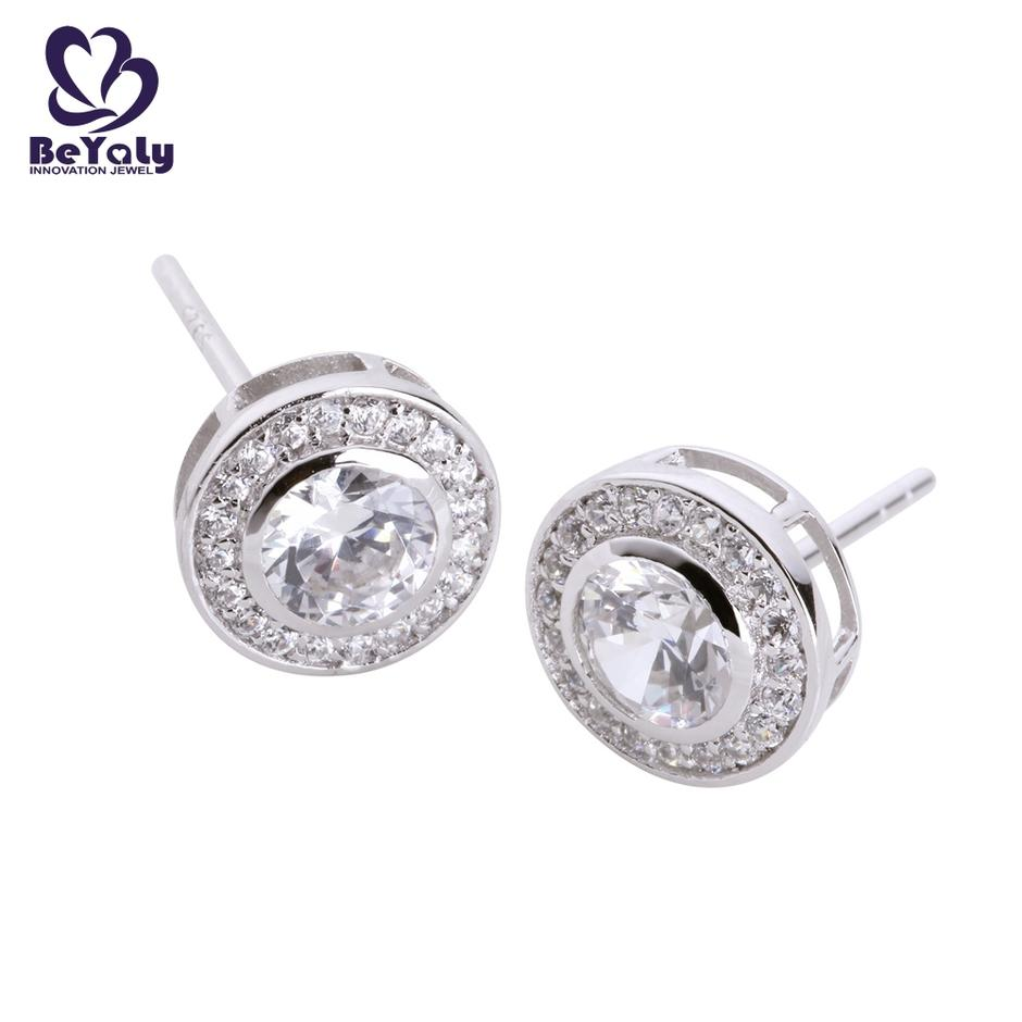 925 silver pave setting clear artificial diamond disc round earrings