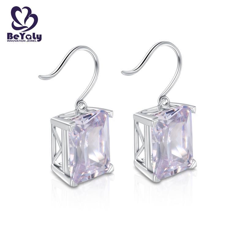 shape zircon white small diamond hoop earrings BEYALY Brand company