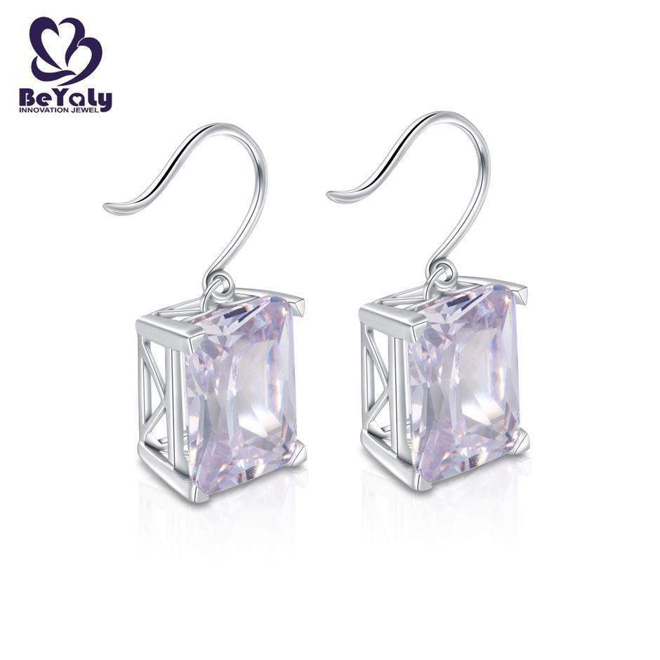 Big gemstone rhodium plated rectangle shaped hook earring