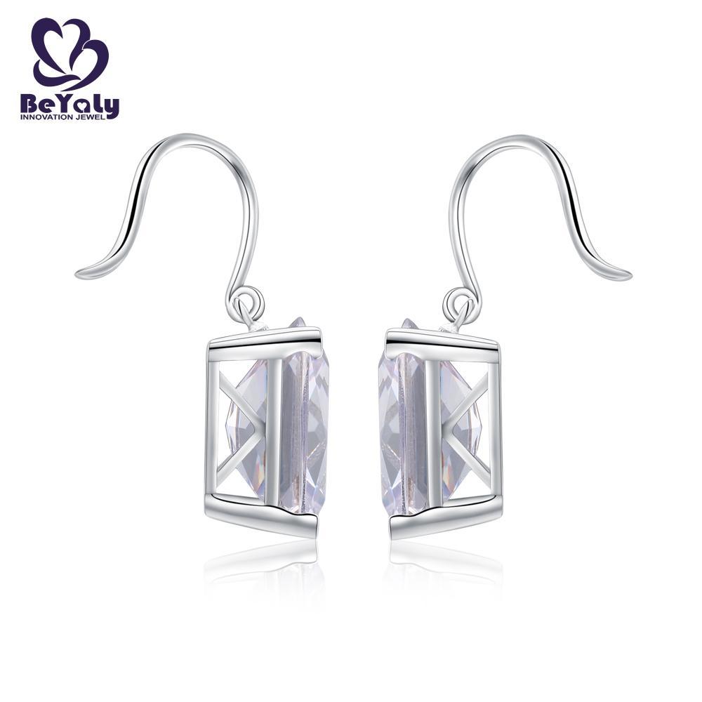 product-BEYALY-Big gemstone rhodium plated rectangle shaped hook earring-img