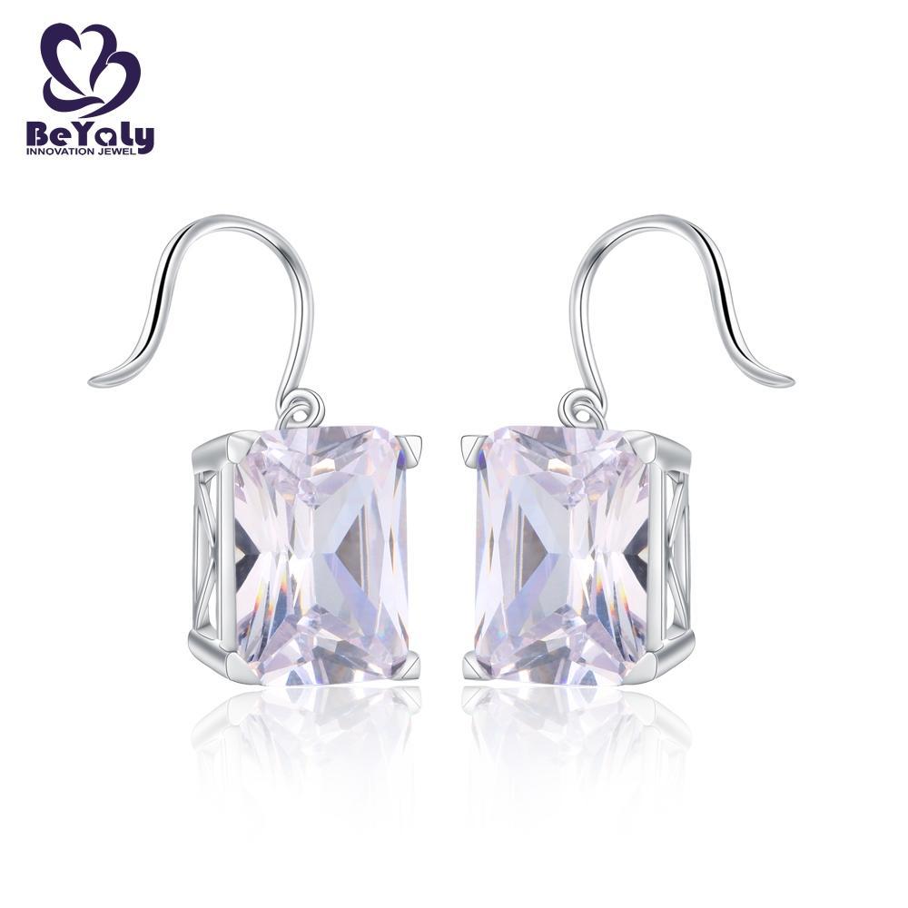 product-Big gemstone rhodium plated rectangle shaped hook earring-BEYALY-img-1