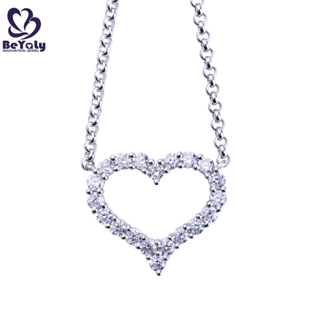 Hollow design stone heart shaped pendant silver chain necklace