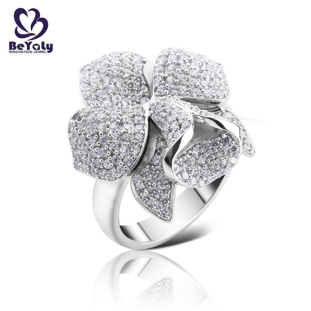 Platinum plating micro pave setting cz flower ring jewelry