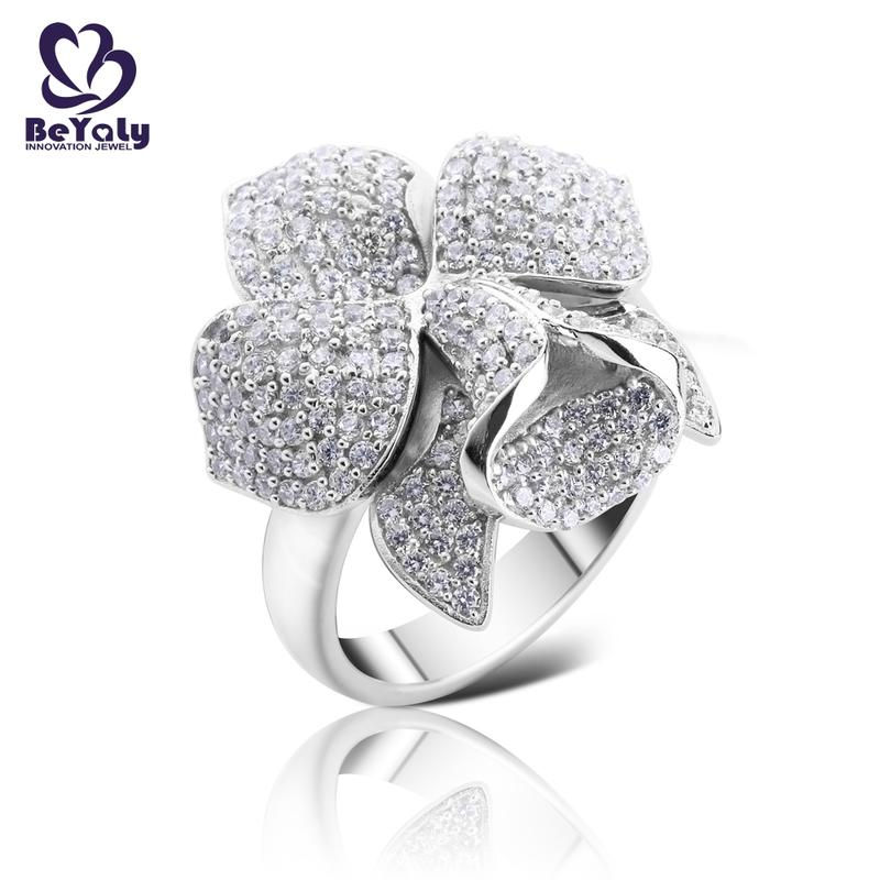 Platinum plating micro pave setting cz flower ring jewelry