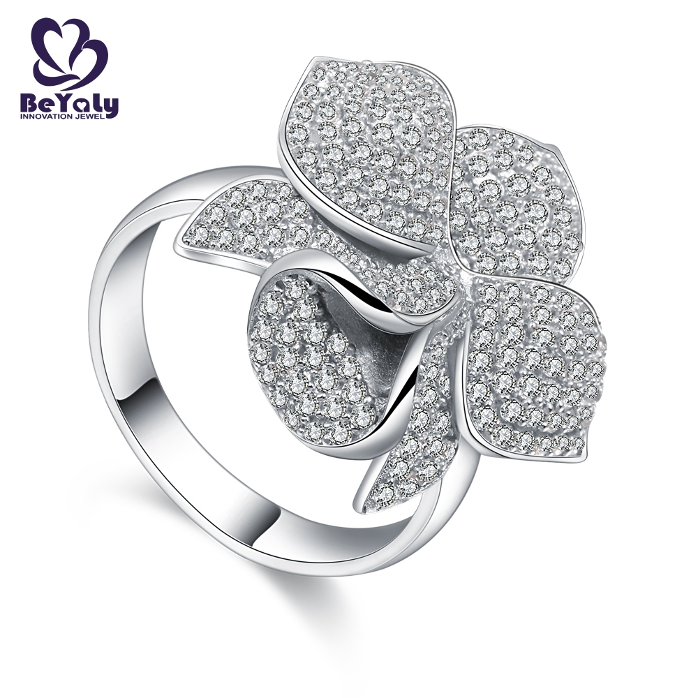 edge platinum diamond rings promotion for daily life BEYALY-fashion jewelry wholesale-circle earring