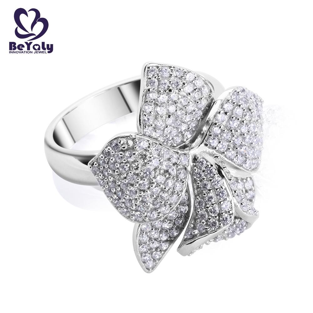product-Platinum plating micro pave setting cz flower ring jewelry-BEYALY-img-1