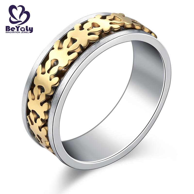 Satin gold claw engraving men's stainless steel ring set