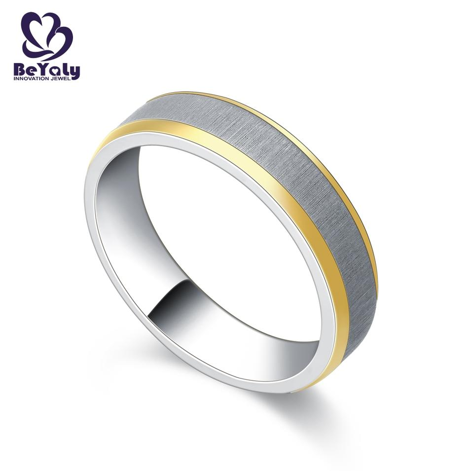 Matte silver band satin gold edge simple design rings