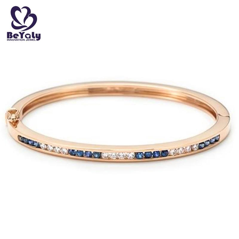 Rose gold plated two color zircon bangle for women