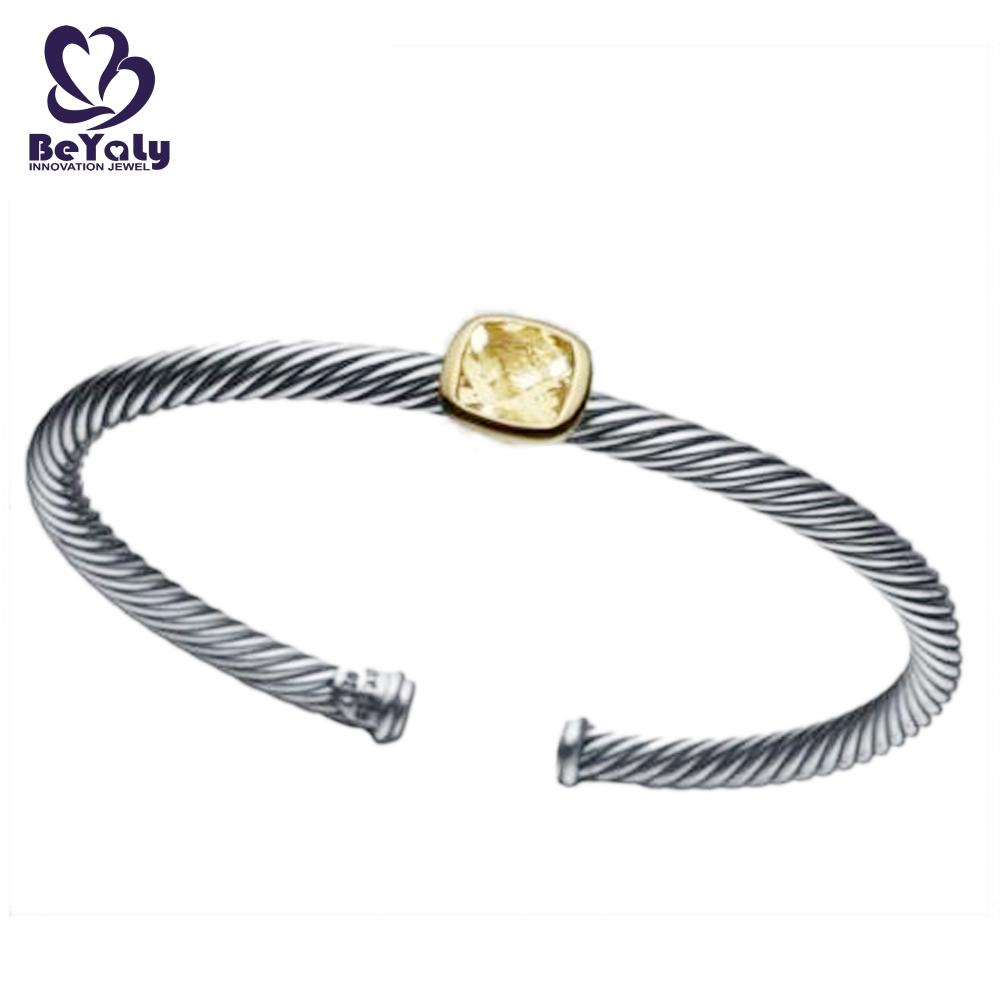 product-Simple adjustable screw thread bangle with a big stone-BEYALY-img-1