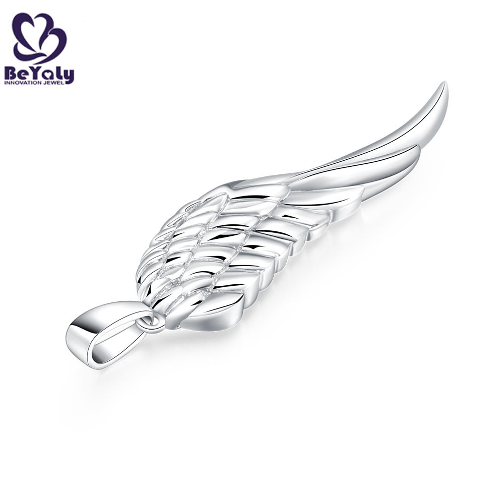 product-BEYALY-Custom design brass or silver engraving full filled feathers wing pendant-img