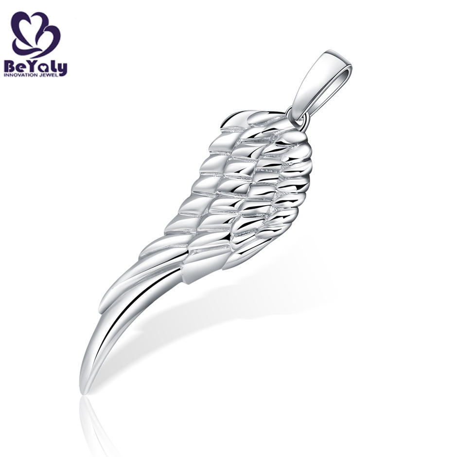 Custom design brass or silver engraving full filled feathers wing pendant