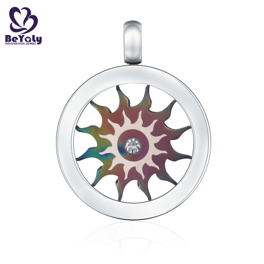 Color plating round stainless steel sun shape disc pendant for men