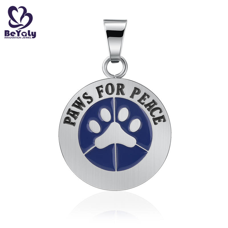 Round stainless steel paws for peace pendant blue enamel jewelry
