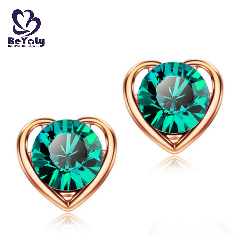 Wholesale heart shape green stone sterling silver lady earring