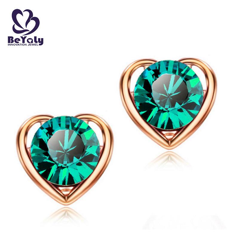 Wholesale heart shape green stone sterling silver lady earring