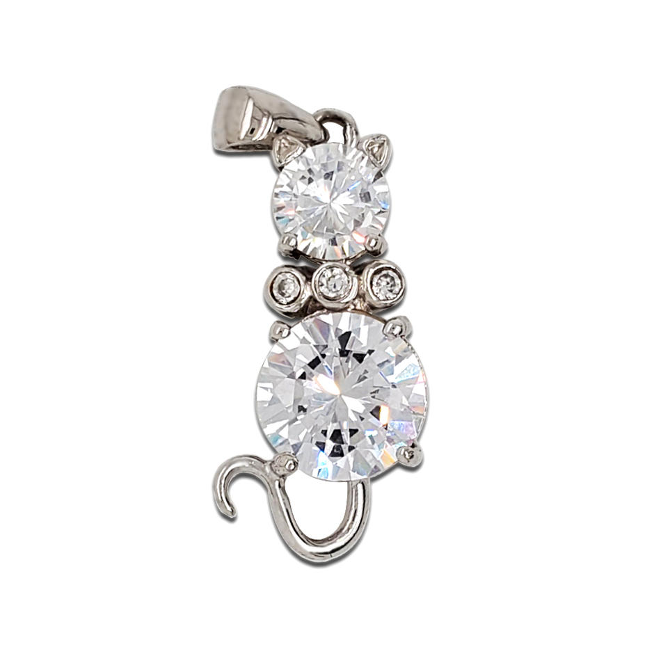 Wholesale Fashion Cat Pendant 925 Sterling Silver Pendant Amethyst Gemstone Pendant