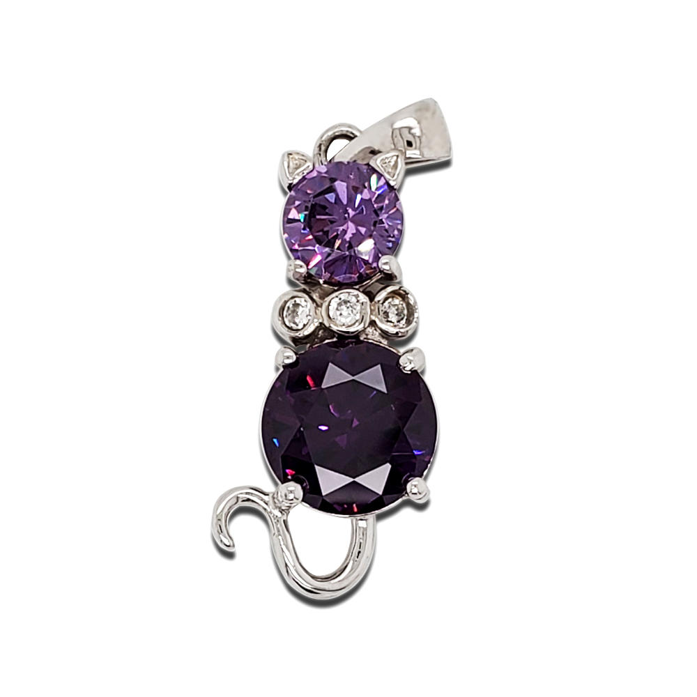 Wholesale Fashion Cat Pendant 925 Sterling Silver Pendant Amethyst Gemstone Pendant