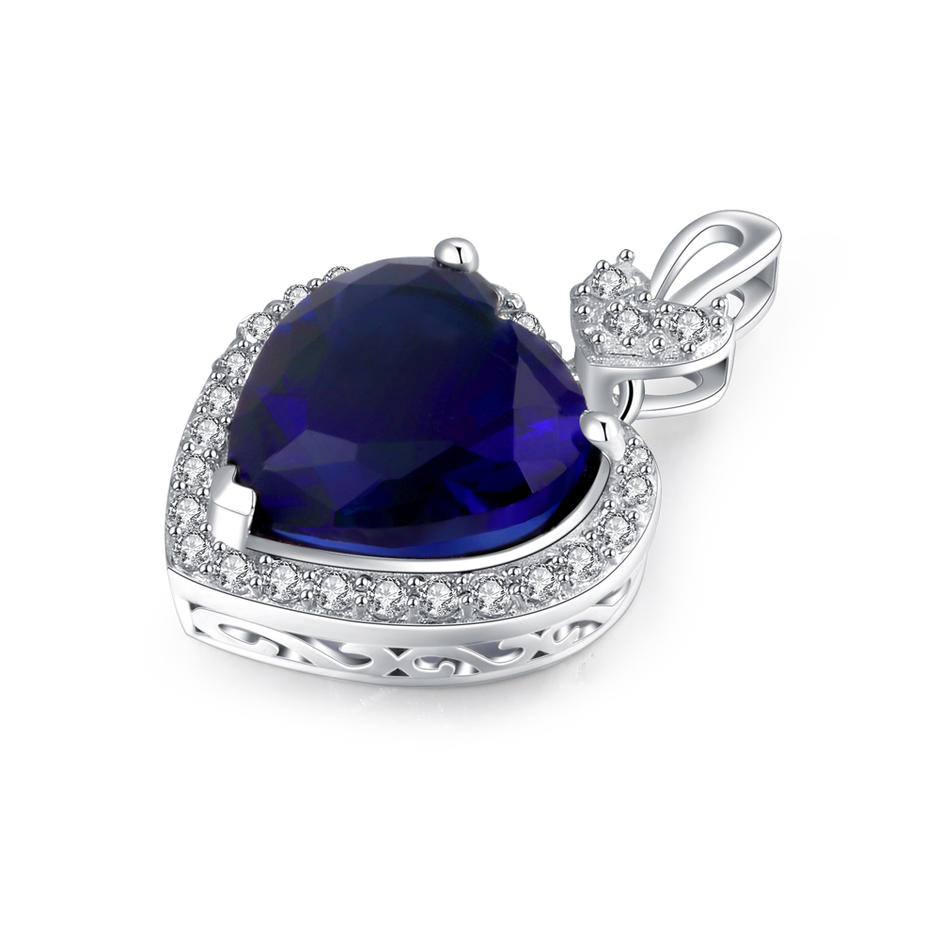 Fashion heart pendant sterling silver with AAA level CZ blue stones customized